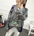 [XITAO] 2016 nova outono mulheres manga comprida pulôver solto Hot stamping moda camisola do sexo feminino casual lantejoulas malha tops QFL001