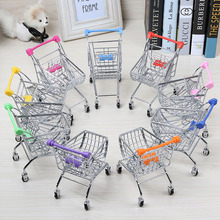 Makeup Organizer Creative Mini Supermarket Shopping Cart Simulation Wine Home Living Room Decoration Model Box Organizador