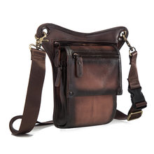 Quality Leather men Multifunction Design Small Messenger Bag Fashion Travel Belt Waist Pack Drop Leg Bag Pouch Male 211-4db(China)