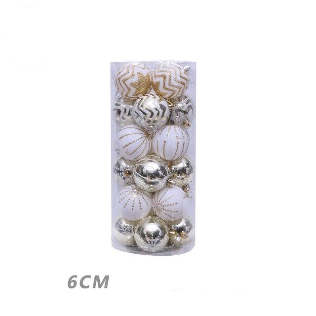 Boule de noël décorative 6cm 24 pièces | Ornements pour arbre de noël, accessoires pour la maison en forme de Bauble suspendu, fournitures de décoration pour la maison, cadeaux du nouvel an