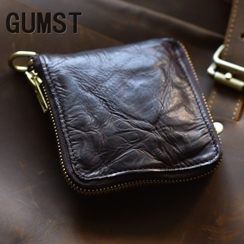 Designer Genuine Leather Short Men Man Wallet Fold Retro Money Pocket Zipper Natural Cowskin Leather Money Clips Carteira