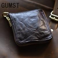 Designer Luxury Genuine Leather Short Men Man Wallet Fold Retro Money Pocket Zipper Natural Cowskin Leather Money Clips Carteira