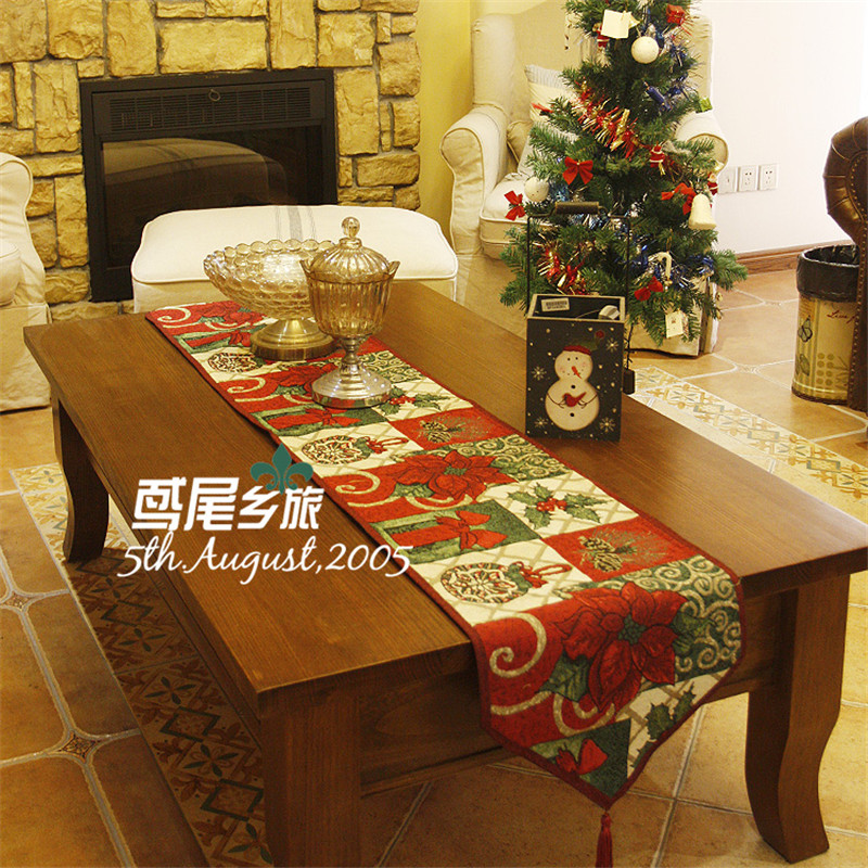 Red Happy Christmas Flower Jacquard Home Table Runner Tablecloths Cover Coffee Table Tv Cabinet