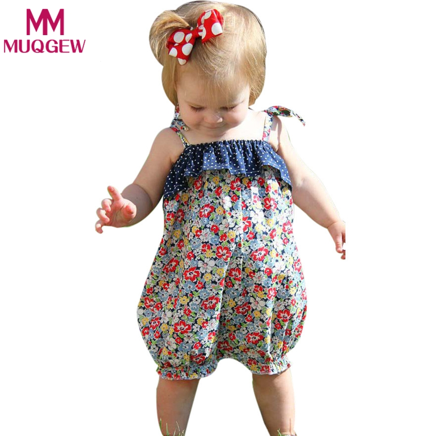 2018 Newborn Girl Romper Clothes Summer Sleeveless Strap Floral Prints Jumpsuit Outfits Sunsuit with Dot Print baby girl clothes 3pcs set newborn infant baby boy girl clothes 2017 summer short sleeve leopard floral romper bodysuit headband shoes outfits