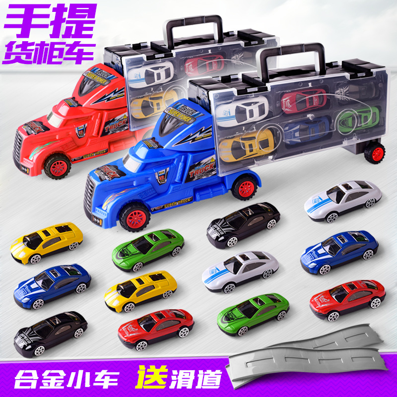 Car Model Children's Simulation Portable Container Truck Toy Inertia Trailer Pull-back Alloy Car Toy for Children's Gift children inertia toy car simulator ladder truck firetruck