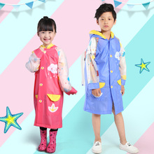1PC Thicken Waterproof PVC Kids Long Raincoat For Children Rainwear with Inflatable eaves  Student backpack rain cover poncho