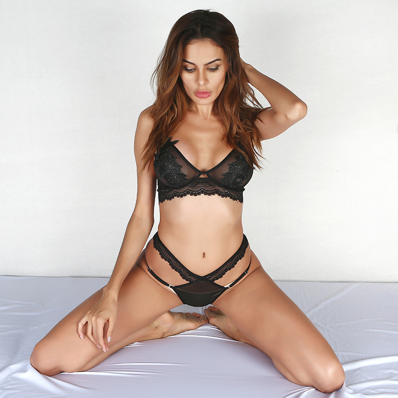 9f3076bcb High Quality Beautiful Black Sexy Lingerie For Women Bra And Panty Set Bras  Sets 2017 Lace Push Up Transparent Underwear-in Bra   Brief Sets from  Underwear ...