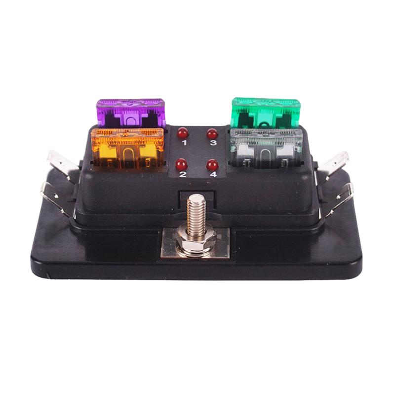 4 Way Circuit ATC ATO Blade Medium Fuse Box Holder w/ Red LED Indicator Light for Car Van Boat Marine 12V 24V 32V Accessories