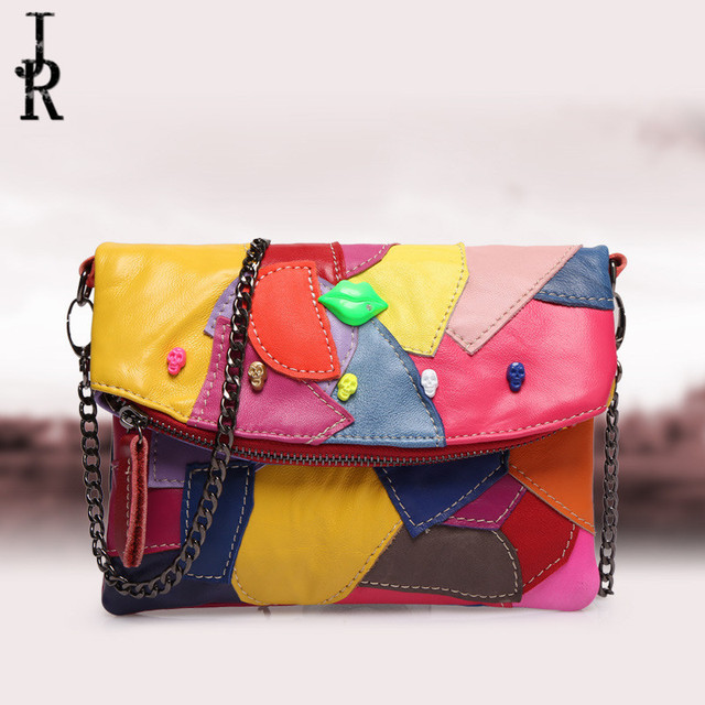 Brand Designer Women bag stitching hit color chain mini hand clutch leather bag lady sheepskin color package bolsa Feminina