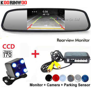 Koorinwoo Visible Car Parking System Reverse Back up 4 Radars Video System 4.3 Car Monitor Auto Rear view Camera Parktronic - DISCOUNT ITEM  23% OFF All Category