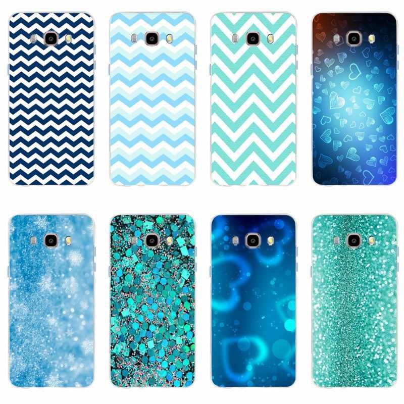 Grüne minze Blau Glitter chevron drucken Abdeckung TPU Telefon Fall Für Samsung Galaxy S6 S6edge A7 S7 S7edge S8 S9 plus A5 J5 J7 2016