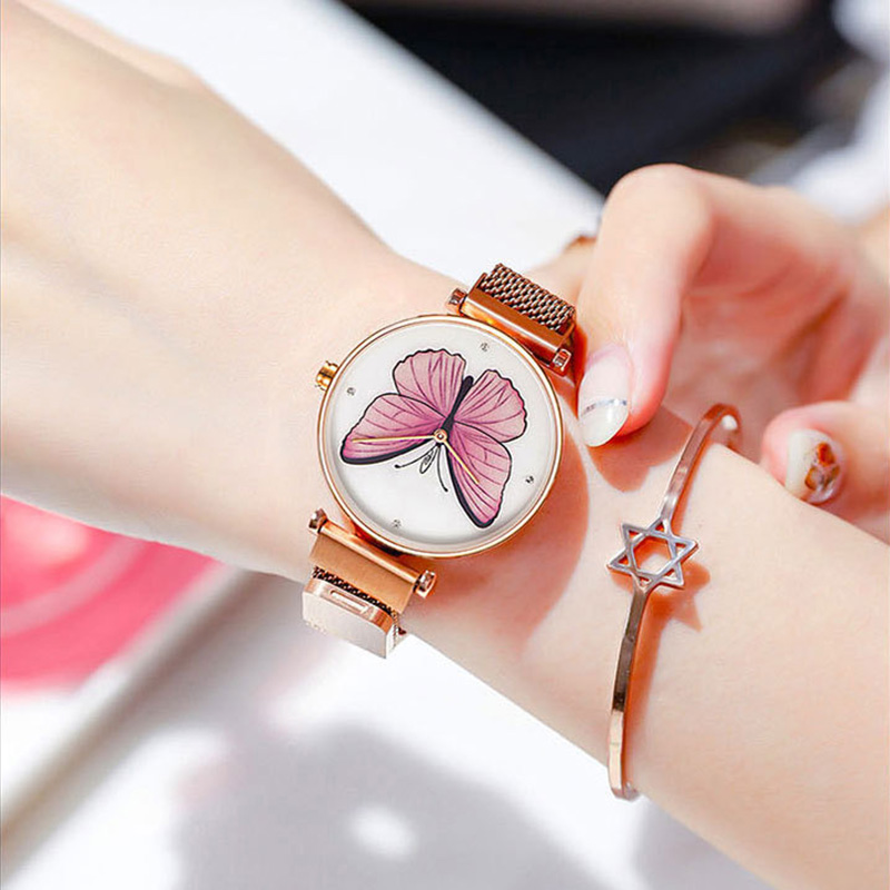 Fashion Women Dress Watches 2019 New Waterproof Ladies Quartz Wrist Watch Butterfly Dial Rose Gold Magnet Mesh Female Clock GiftFashion Women Dress Watches 2019 New Waterproof Ladies Quartz Wrist Watch Butterfly Dial Rose Gold Magnet Mesh Female Clock Gift