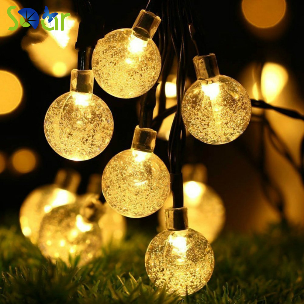 Battery Operated Outdoor String Lights Globe: 40 Led 16 Feet Bubble Crystal Ball Waterproof LED Globe