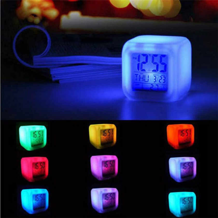 Home Good Quality despertador Digital Alarm Thermometer night clock  Glowing Cube 7 Colors Clock LED Change Fashion Dropshipping