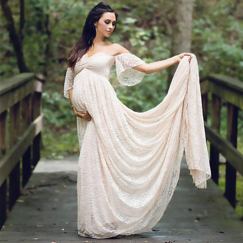 Trailing Dress Maternity Photography Props Pregnancy Dress Photography Clothes For Photo Shoot Pregnant Dress Lace Maxi Gown Платье