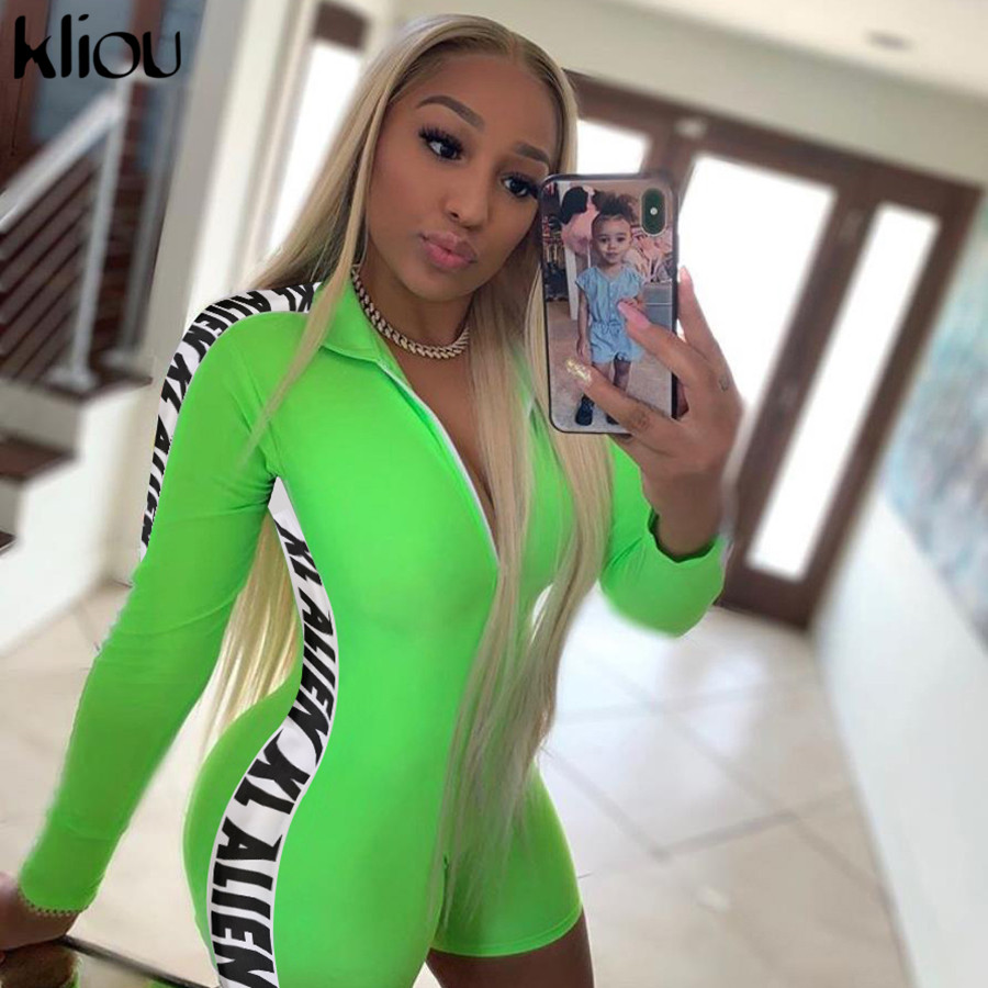 Kliou Women Fashion Playsuit Long Sleeve Zipper Turtleneck Skinny Rompers 2019 Letter Print On The Side Female Short Bodysuit