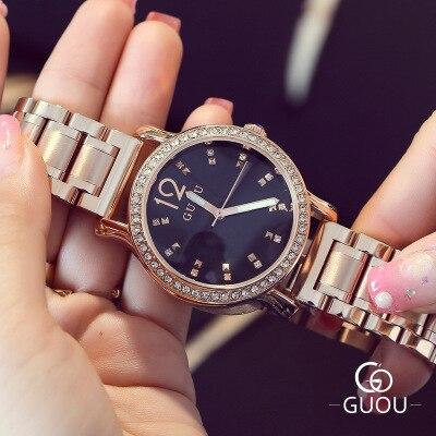 купить Brand GUOU Watch Women Fashion Rhinestone watches Stainless Steel Ladies Watch Luxury Exquisite Women's Watches relogio feminino по цене 2120.84 рублей