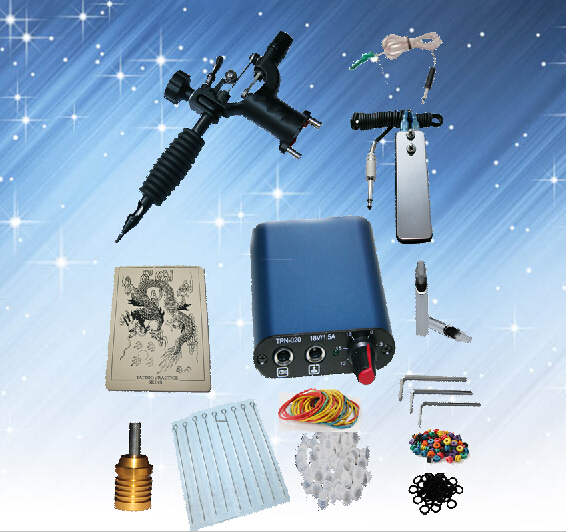 ФОТО Complete Tattoo kits 1 rotary tattoo machine  sets power supply disposable needle free shipping