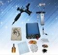 Kits completos tatuaje 1 máquina rotatoria del tatuaje establece fuente de alimentación aguja desechable envío gratis