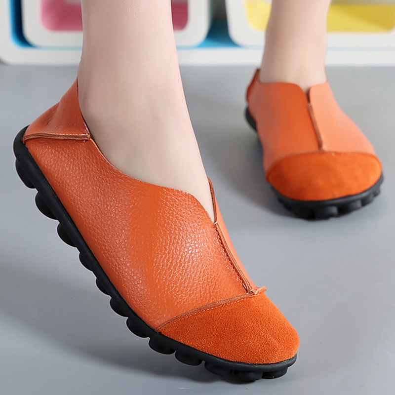 Image 3 - Women's Genuine leather Cow Leather Flats shoes Soft Ladies Loafers Plus size 41 43 Non slip Superstar Female shoe-in Women's Flats from Shoes