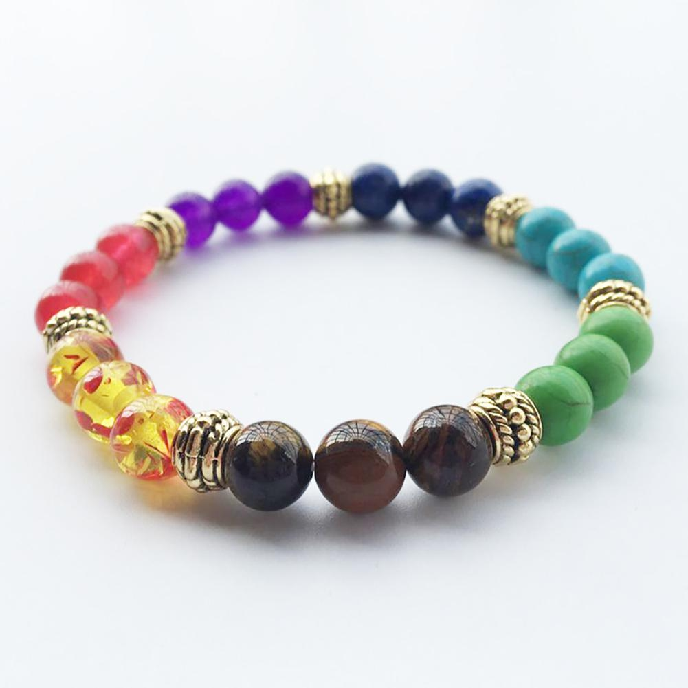 Colorful Beaded Chakra Bracelet Men with Natural Lava Stone Beads Black and Brown Hologram Women Men Jewelry Gift Drop Shipping