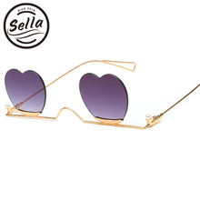 Sella 2019 New Arrival Unique Rimless Heart Shape Sunglasses
