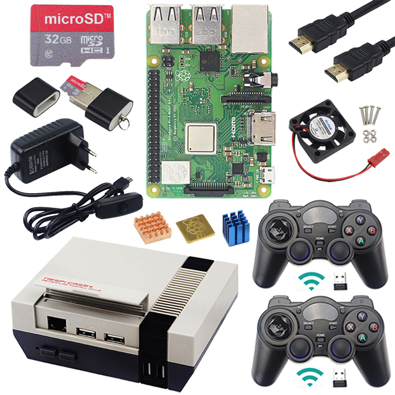 Original Raspberry Pi 3 Model B+ With WiFi&Bluetooth Gaming Kit+Case+Power+USB Game Controllers Supply For Retrpie Pi 3B Plus