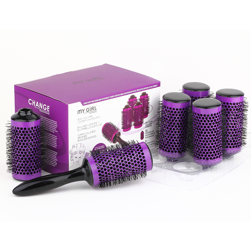 Aluminum Round Comb Hair Brush Set Diameter 55mm Purple Barber Hair Salon Tools Ceramic Hair Brush 6 Rollers +1 Handle