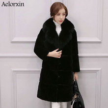 Aelorxin Imitation Fur Coat Artificial Mink Stand Collar Good Quality Mink Fur Coat Women Black Coats 2017 New Style Fashion