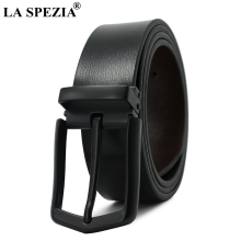 LA SPEZIA Genuine Leather Belt Pin Buckle Men Belts Black Natural Cow Leather Casual Luxury Designer Brand Man Belts Accessories