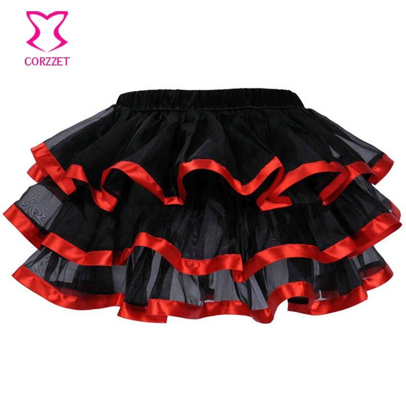Red Satin Rim Black Adult Tulle Skirt Lolita Women Tutu Skirt Rockabilly Petticoat Sexy Gothic Skirt