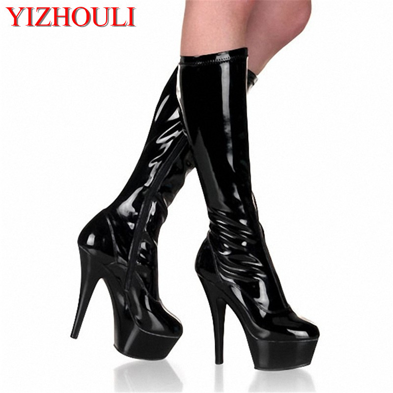 2018 womens spring and autumn shoes fashion medium-leg 15cm boots sexy high-heeled shoes black knee high boots2018 womens spring and autumn shoes fashion medium-leg 15cm boots sexy high-heeled shoes black knee high boots