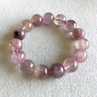 Natural Genuine Pink Purple Hair Crystal Multi Colors Mix Super 7 Seven Bracelet Round Melody Stone Big Beads 14mm
