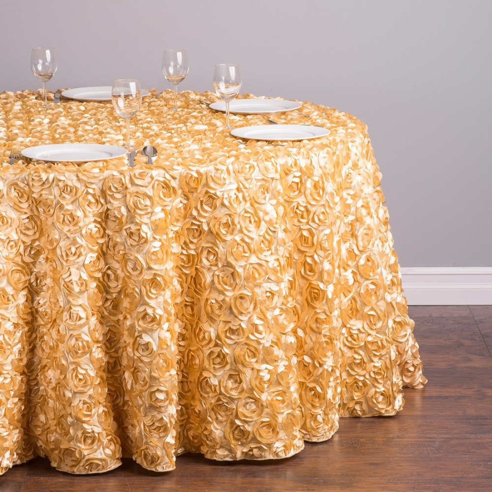 Custom Order Are Welcome Silk Feel Polyester 118 inch/300cm Round Inspire 3D Romance Rosette Tablecloth Gold for Wedding, 5/Pack