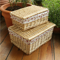 Large Home Decorative Brown&White Storage Wicker Basket for Table Organization Neatening Wicker Laundry Baskets for Clothes