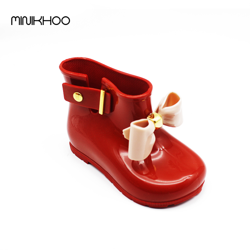 Mini Melissa 2017 Children Bow Boots Girls Jelly Water Boots Princess Shoes Anti-Skid Soft Boots Melissa Girls 4Color Shoes