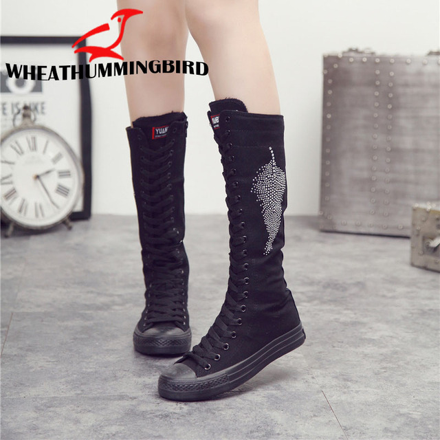 Boyutu 34-43 Kadın moda Yüksek top fermuar Kristal Yaprak düz çizmeler Uzun namlulu rahat flats tuval çizmeler uzun boylu Punk Ayakkabı MA-75