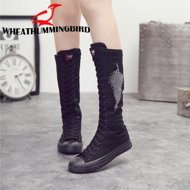 Size 34-43 Women fashion High-top zipper Crystal Leaf flat boots Long-barreled casual flats canvas boots Tall Punk Shoes MA-75