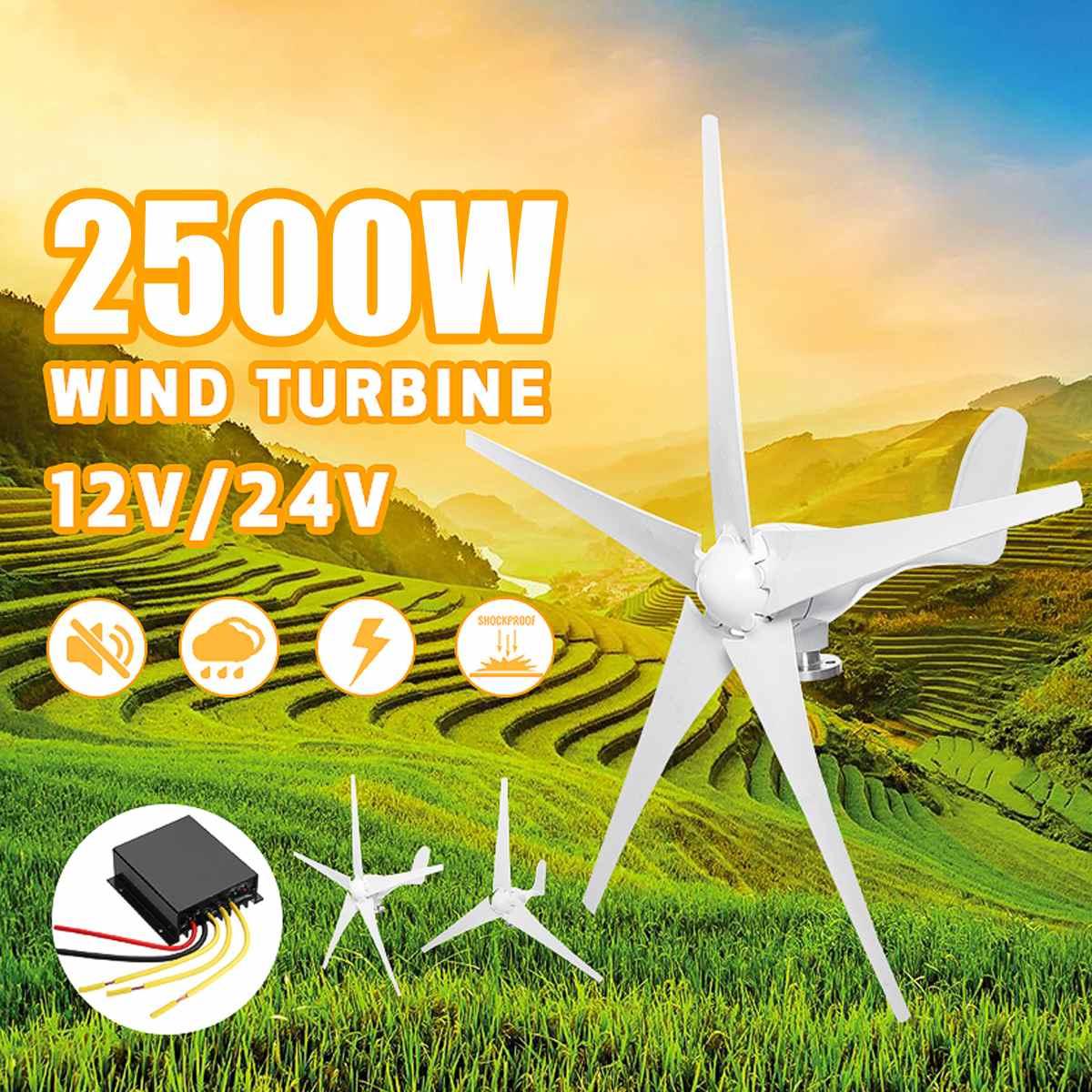 2500 W 12 V 24 V éoliennes générateur de Turbines 3/5 Option de pales de vent avec contrôleur de Charge étanche adapté pour la maison ou le Camping