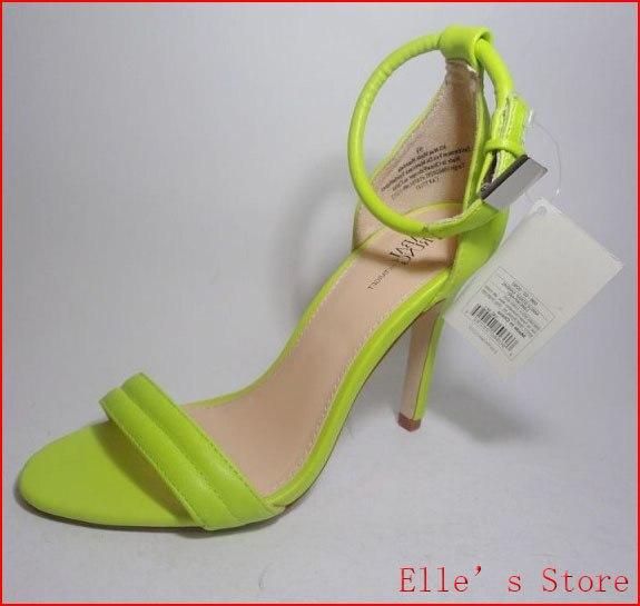 21ee607a4 New 2016 Plus Size 33-41 Neon Green White Women Open Toe High Heels belt  Sandals Women s Sandals heel Shoes for Women