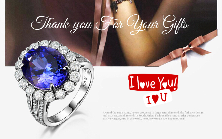3 carat 925 sterling silver ring high-end sapphire tanzanite ring man made diamond wedding ring US size from 4.5 to 9