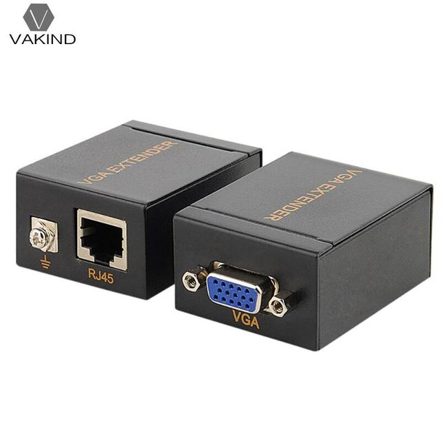 2PCS 1-60m VGA Signal Network to Lan Extender Ethernet Transmitter Receiver 1080 High Definition PC Accessories