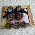 Leopardo bebê mocassins Headbands set, Diamante botas bebê, Batismo infantil sapato, Rhinestone bebê recém-nascido sapatos de marca