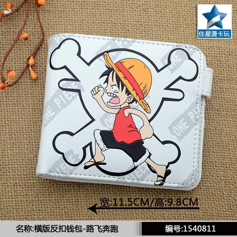 White Anime One Piece Horizontal Wallet/Monky D Luffy Short Purse With Button anime game super mario synthetic leather short exquisite wallet button purse free shipping