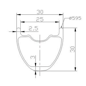 Image 5 - 27.5 inch 650B MTB XC 30mm x 30mm tubeless hookless carbon rim UD 24 holes 28H 32 holes 27er cross country mountain bike wheel
