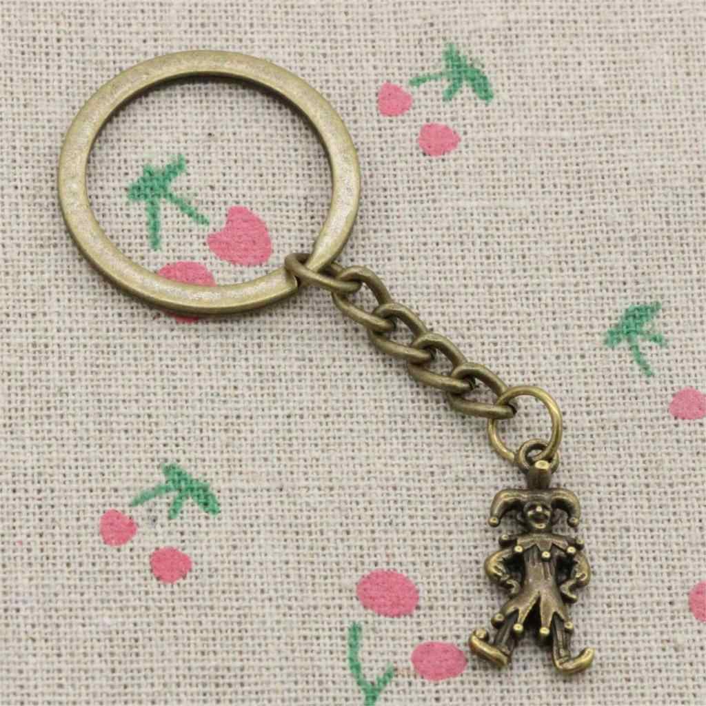 Moda średnica 30mm brelok metalowy brelok do kluczy biżuteria Antique Bronze Plated clown joker 25*12mm wisiorek