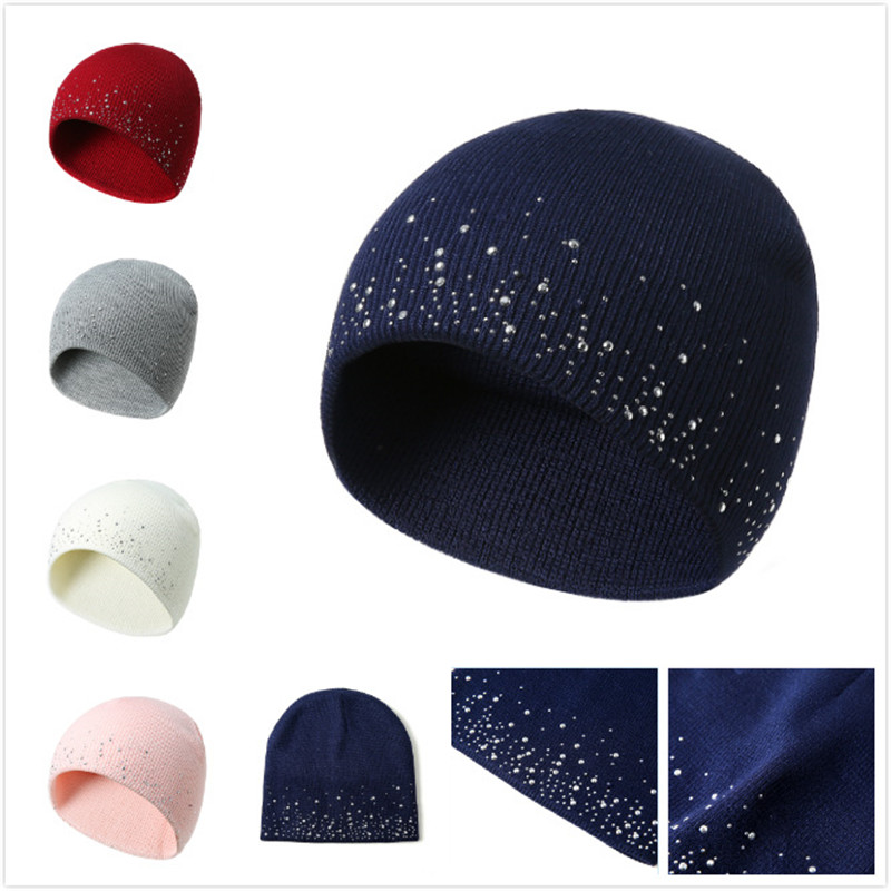 Winter autumn   beanie   hats women soft knitting   skullies     beanies   hat female fashion rhinestone cotton hat cap