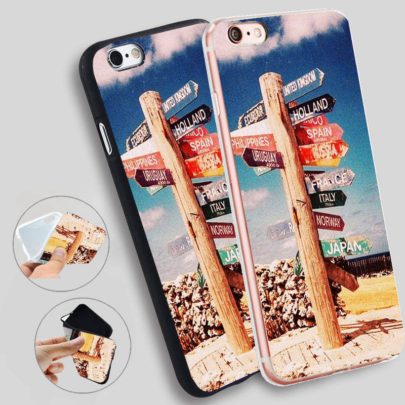 Minason Vintage Travel The World Sign Wanderlust Soft Silicone Case for iPhone X 5 S 5S 6 6S 7 8 Plus Cover Phone Fundas
