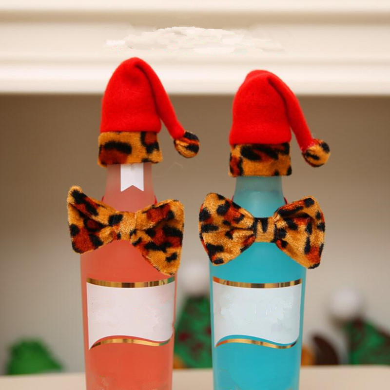 Mini Leopard Christmas Hat Bow Tie Wine Bottle Cover Bags Santa Claus Hats Bottle Caps Covers Holiday Party Decoration