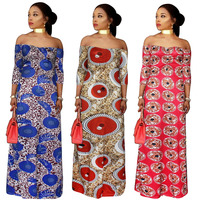2017 African Women Clothing Plus Size Print Long Dresses Maxi Dress Africaine Off Shoulder Summer Vetsidos